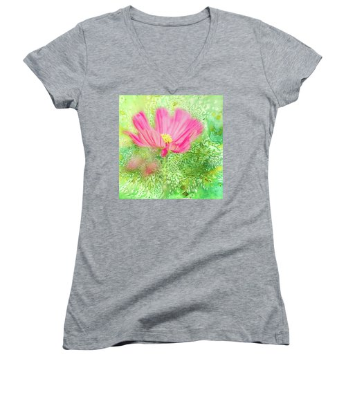 Cosmos On Green Women's V-Neck T-Shirt