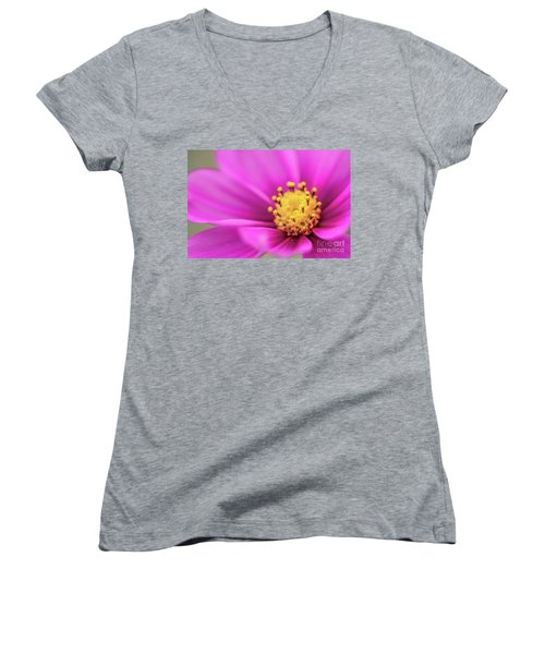 Women's V-Neck T-Shirt (Junior Cut) featuring the photograph Cosmos Pink Sensation by Sharon Mau