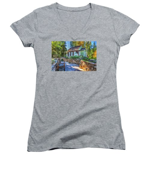 Women's V-Neck featuring the painting Cottage by Harry Warrick