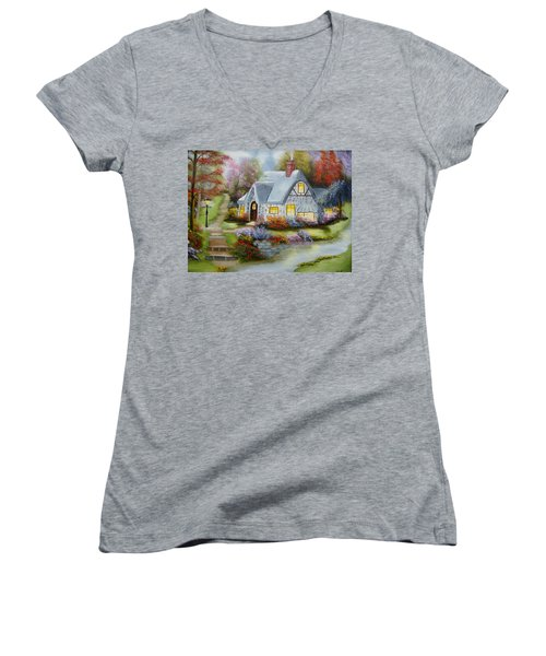 Cottage In Fall Women's V-Neck (Athletic Fit)
