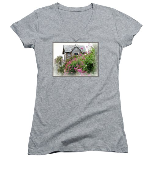 Cottage On The Hill Women's V-Neck T-Shirt (Junior Cut) by Anne Gordon