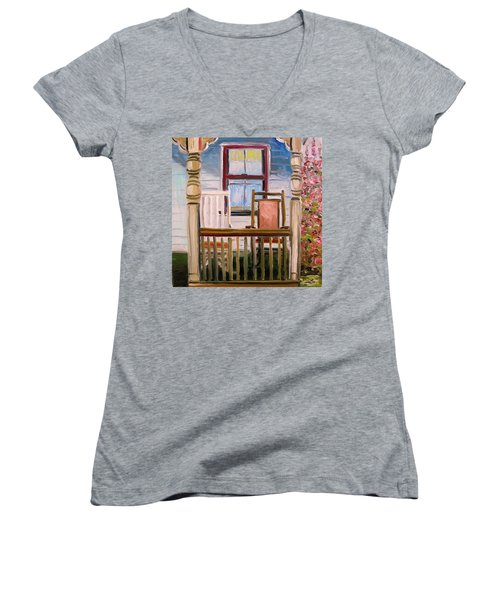 Women's V-Neck T-Shirt (Junior Cut) featuring the painting Cottage Rockers by John Williams