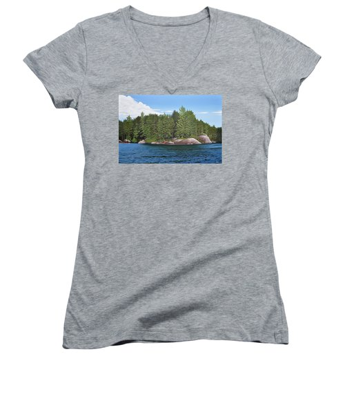 Women's V-Neck T-Shirt (Junior Cut) featuring the painting Cottage View Silver Lake by Kenneth M Kirsch
