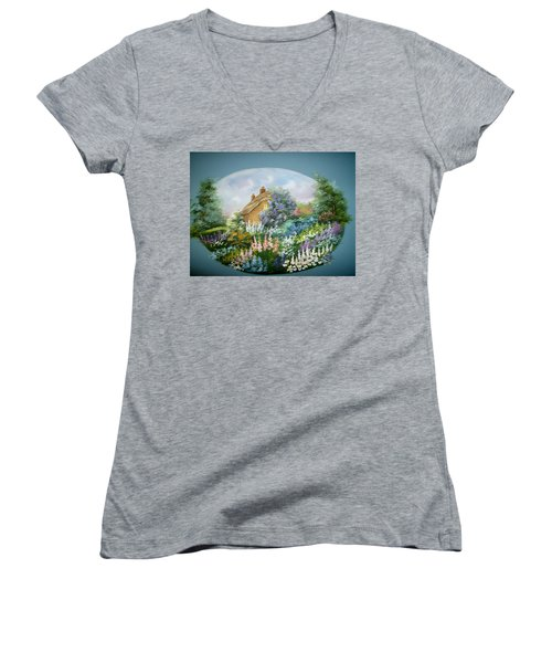 Cottage Vignette Women's V-Neck T-Shirt