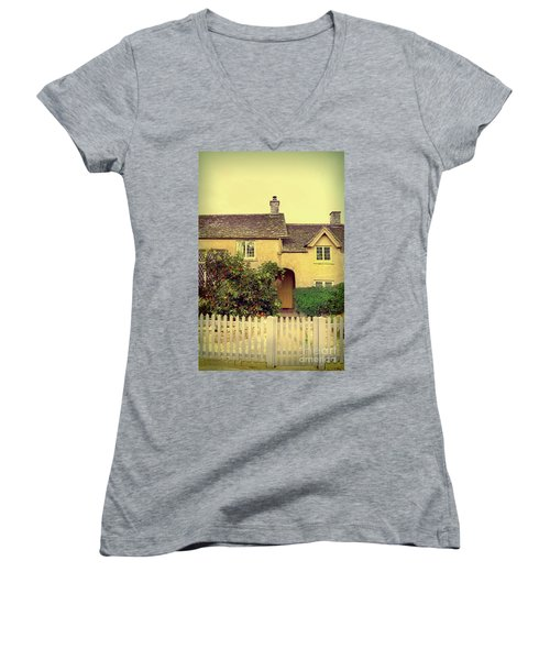 Cottage With A Picket Fence Women's V-Neck T-Shirt (Junior Cut) by Jill Battaglia