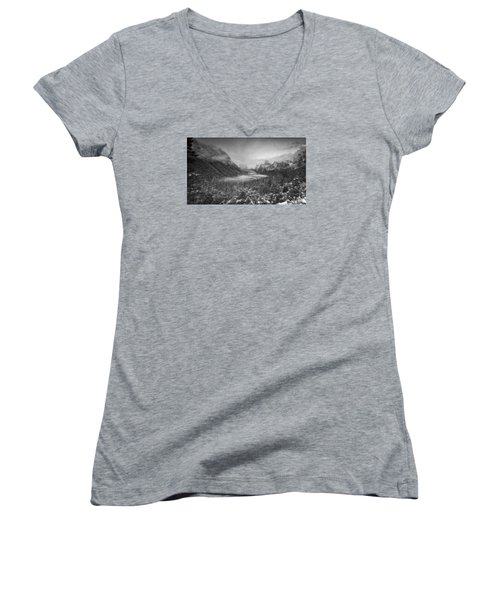 Women's V-Neck T-Shirt (Junior Cut) featuring the photograph Cotton Candy Blankets Yosemite by Lora Lee Chapman