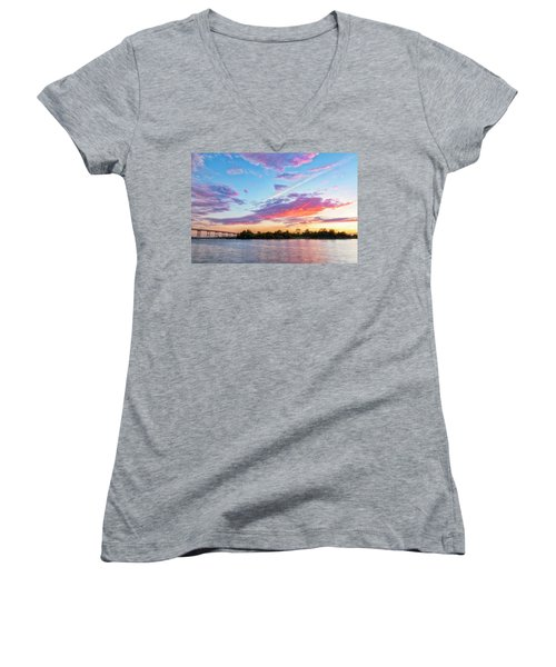 Cotton Candy Sunset Women's V-Neck (Athletic Fit)