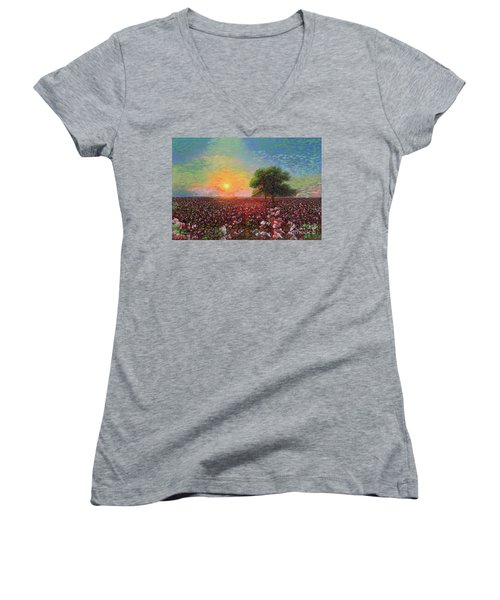 Cotton Field Sunset Women's V-Neck (Athletic Fit)