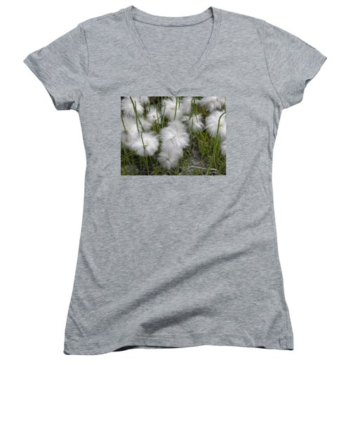 Women's V-Neck T-Shirt featuring the photograph Cottongrass by Fran Riley