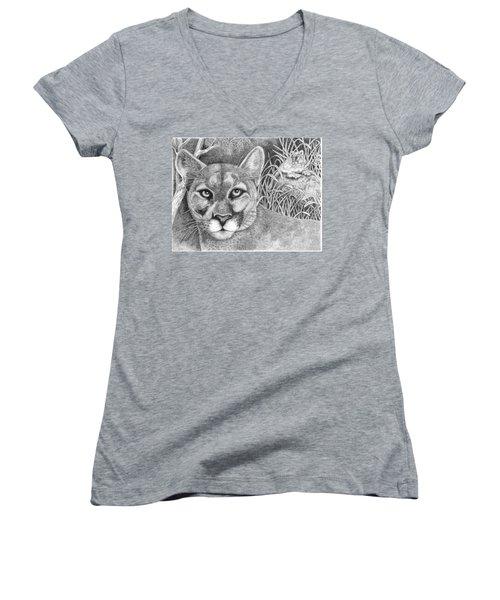 Cougar Women's V-Neck T-Shirt (Junior Cut) by Lawrence Tripoli