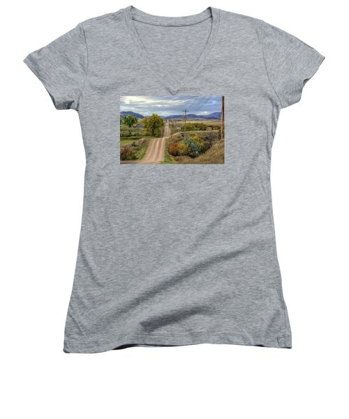 Women's V-Neck featuring the photograph Country Autumn by Fiskr Larsen