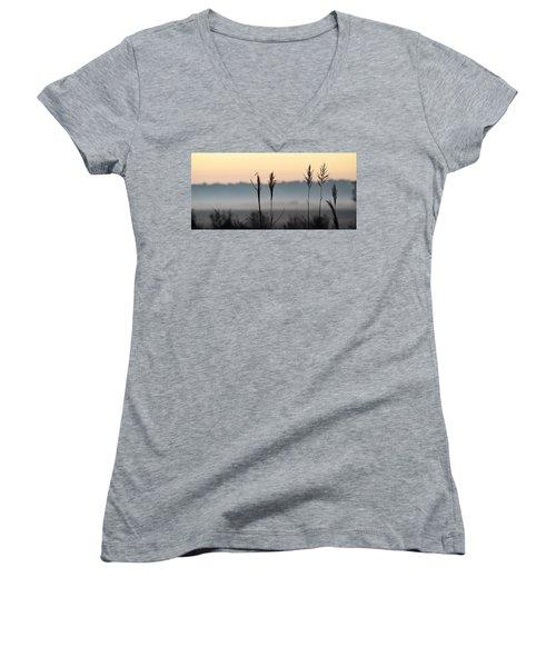 Hayseed Johnny Women's V-Neck T-Shirt (Junior Cut) by John Glass
