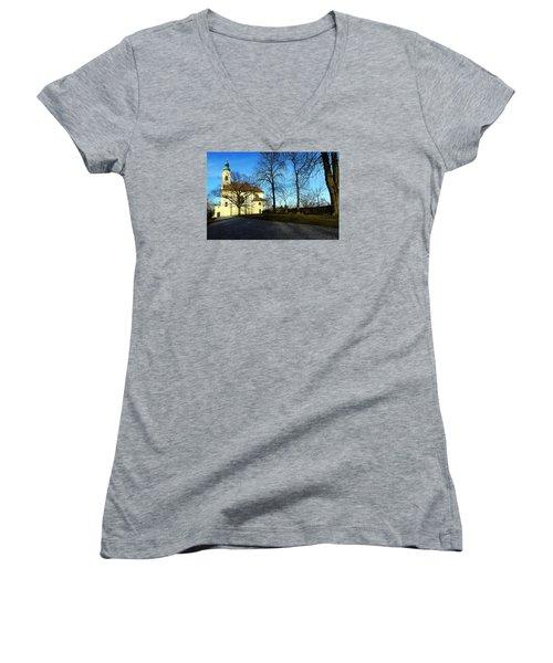 Country Church Women's V-Neck T-Shirt (Junior Cut) by Christian Slanec