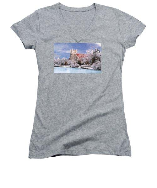 Women's V-Neck T-Shirt (Junior Cut) featuring the photograph Country Club Christian Church by Steve Karol