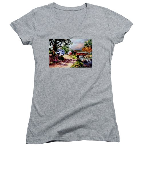 Country Covered Bridge Women's V-Neck T-Shirt (Junior Cut) by Ron Chambers