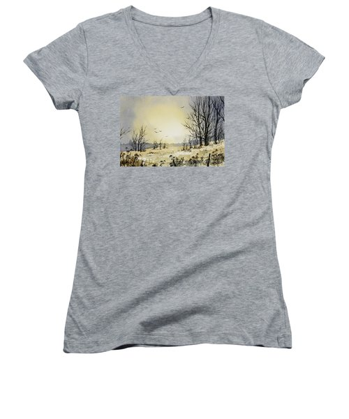 Women's V-Neck T-Shirt (Junior Cut) featuring the painting Country Dawn by James Williamson