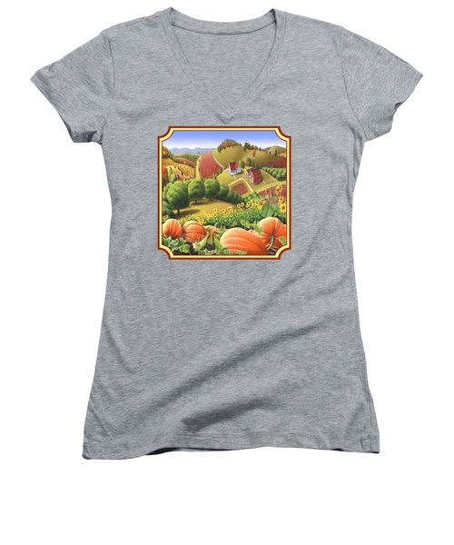 Country Landscape - Appalachian Pumpkin Patch - Country Farm Life - Square Format Women's V-Neck T-Shirt