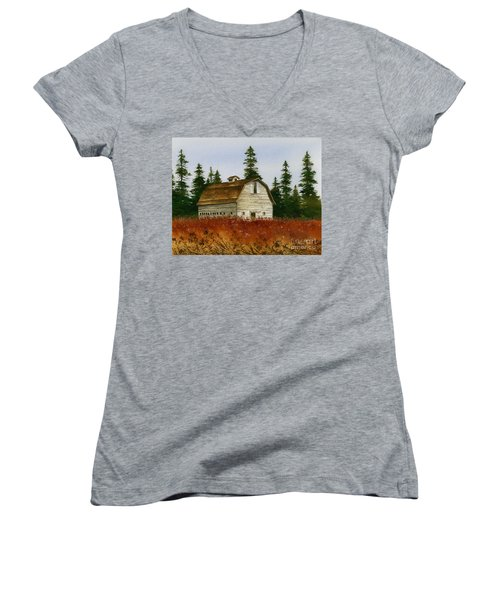 Women's V-Neck T-Shirt (Junior Cut) featuring the painting Country Landscape by James Williamson