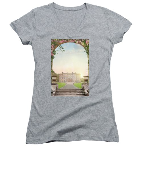 Country Mansion At Sunset Women's V-Neck T-Shirt (Junior Cut) by Lee Avison
