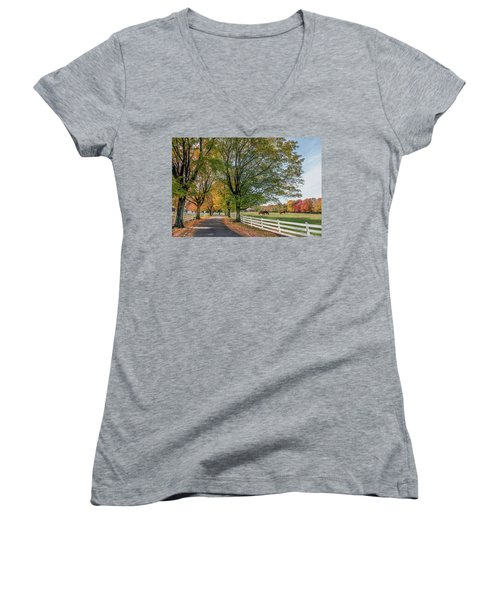 Country Road In Rural Maryland During Autumn Women's V-Neck (Athletic Fit)