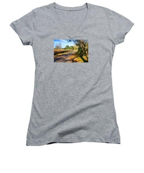 Women's V-Neck T-Shirt (Junior Cut) featuring the photograph Country Road by Joan Bertucci