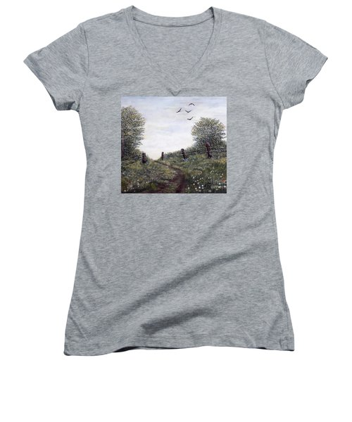 Women's V-Neck T-Shirt (Junior Cut) featuring the painting Country Road by Judy Kirouac