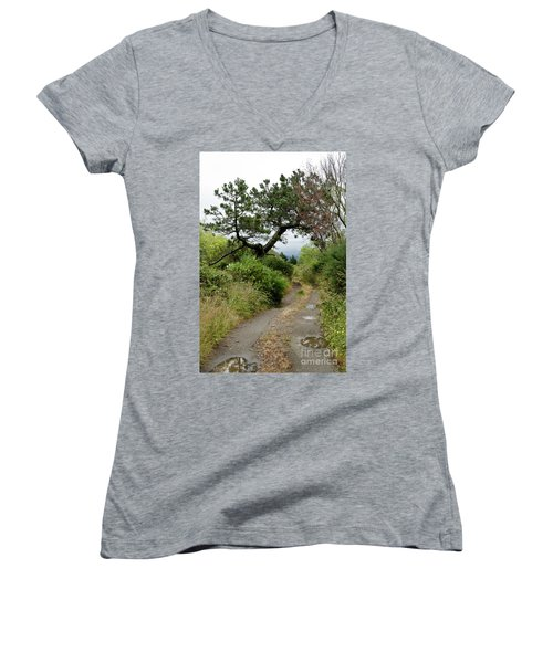 Country Road. New Zealand Women's V-Neck T-Shirt (Junior Cut) by Yurix Sardinelly