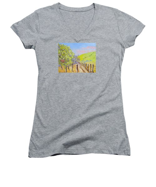 Country Road Pallet Knife Women's V-Neck T-Shirt (Junior Cut) by Lisa Boyd