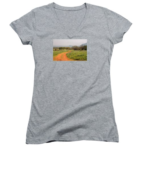 Country Road With Wild Flowers Women's V-Neck