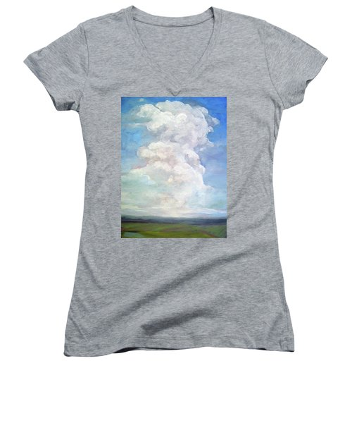 Women's V-Neck T-Shirt (Junior Cut) featuring the painting Country Sky - Painting by Linda Apple