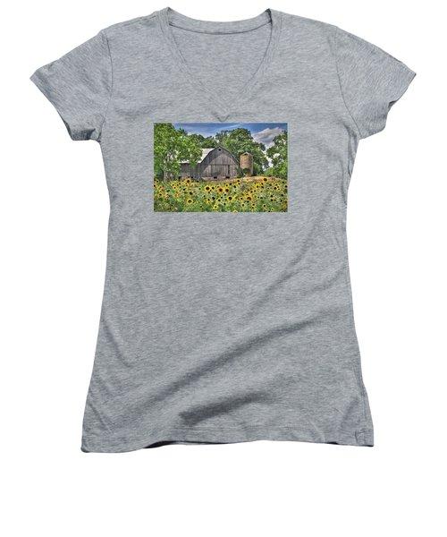 Country Sunflowers Women's V-Neck T-Shirt (Junior Cut) by Lori Deiter