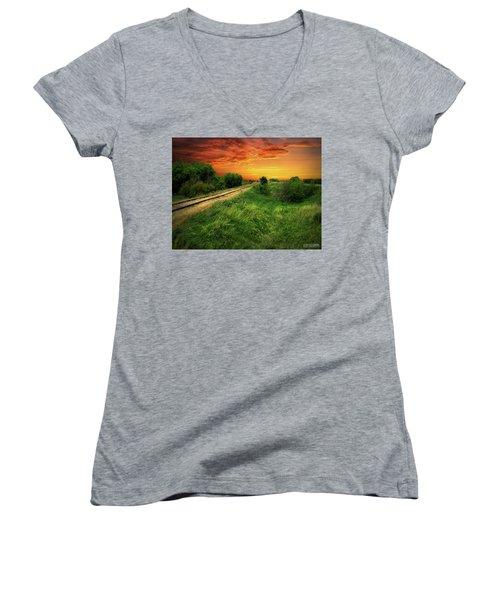 Country Tracks 2 Women's V-Neck T-Shirt