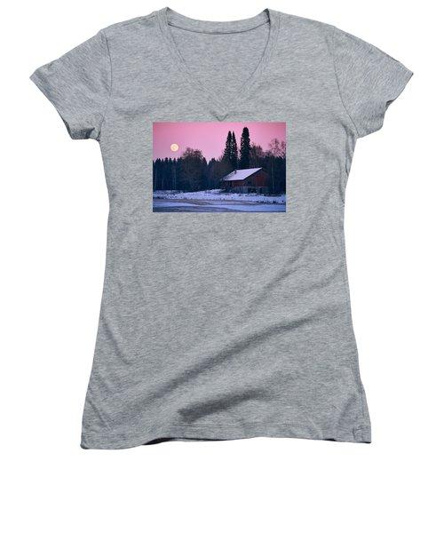 Countryside Full Moon Scenery Women's V-Neck T-Shirt (Junior Cut) by Teemu Tretjakov