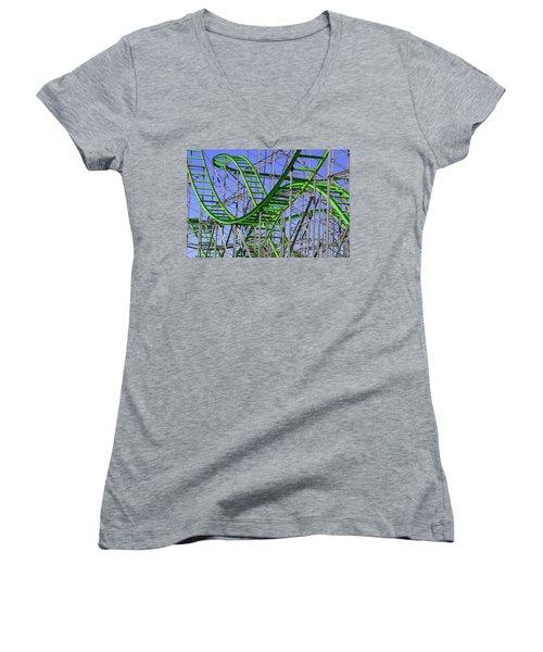 County Fair Thrill Ride Women's V-Neck T-Shirt (Junior Cut) by Joe Kozlowski