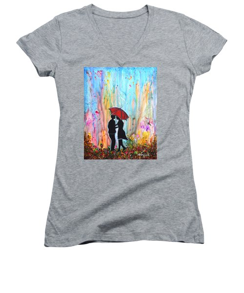 Couple On A Rainy Date Romantic Painting For Valentine Women's V-Neck (Athletic Fit)