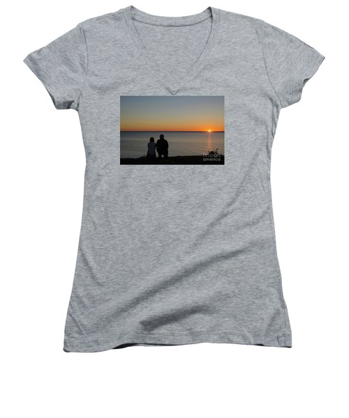Women's V-Neck T-Shirt (Junior Cut) featuring the photograph Couple Silhouettes By Sunset by Kennerth and Birgitta Kullman