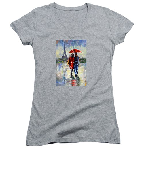 couple walking in the rain Paris Women's V-Neck T-Shirt (Junior Cut) by Tim Gilliland