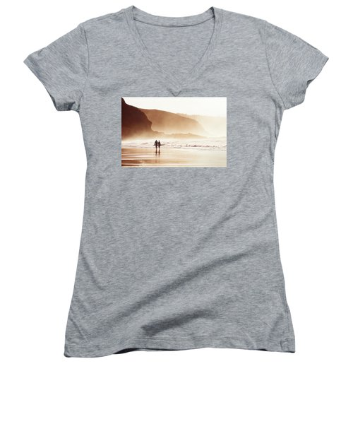 Couple Walking On Beach With Fog Women's V-Neck