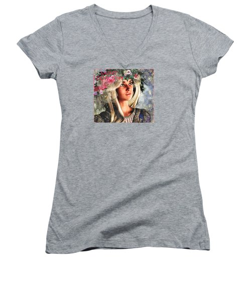 Women's V-Neck T-Shirt (Junior Cut) featuring the painting Courage, Saint Dorothy Of Caesarea by Suzanne Silvir