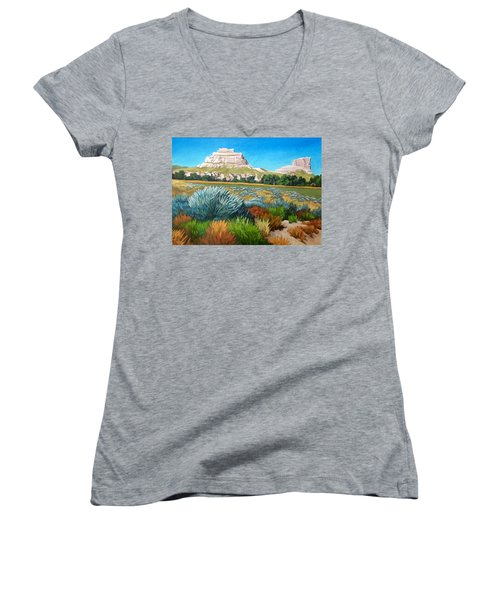 Courthouse And Jail Rocks Acrylic Women's V-Neck