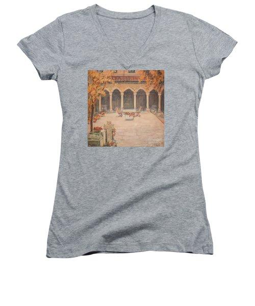 Women's V-Neck T-Shirt (Junior Cut) featuring the painting Courtyard Of Stravopoleos Church by Olimpia - Hinamatsuri Barbu