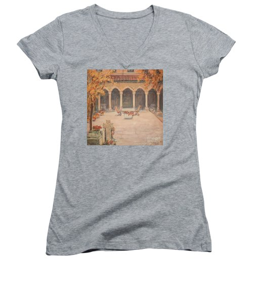 Courtyard Of Stravopoleos Church Women's V-Neck (Athletic Fit)