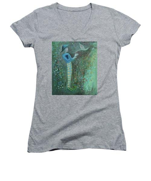 Cousin Good Shoes Sentinel Women's V-Neck T-Shirt (Junior Cut) by Tone Aanderaa