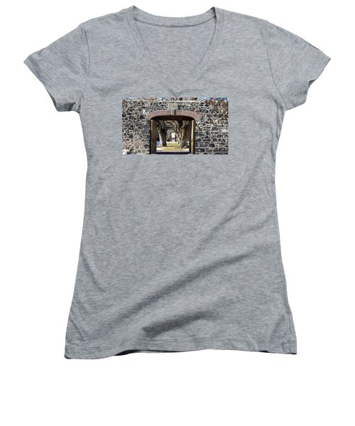 Women's V-Neck T-Shirt (Junior Cut) featuring the photograph Cove Fort, Utah by Cynthia Powell