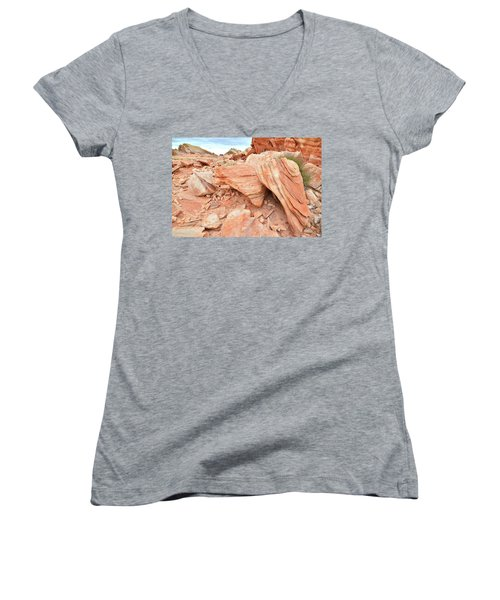 Women's V-Neck T-Shirt (Junior Cut) featuring the photograph Cove Of Sandstone Shapes In Valley Of Fire by Ray Mathis