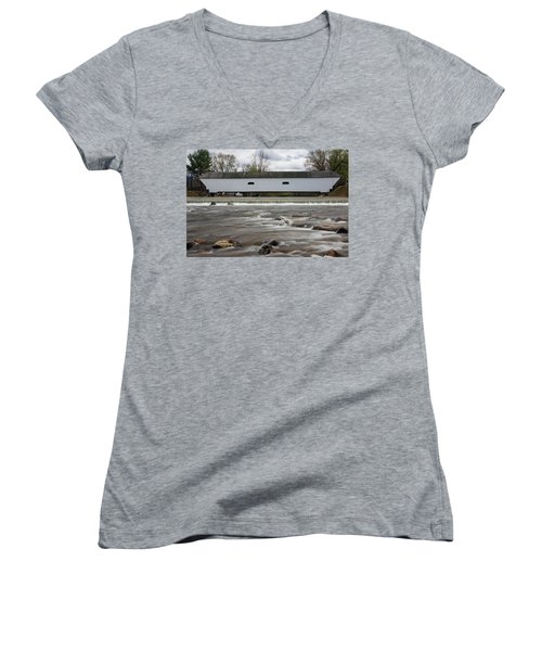 Covered Bridge In March Women's V-Neck (Athletic Fit)