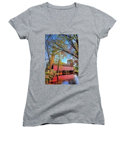 Covered Bridge In Maryland In Autumn Women's V-Neck (Athletic Fit)