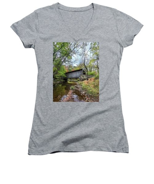 Covered Bridge In Pennsylvania During Autumn Women's V-Neck (Athletic Fit)