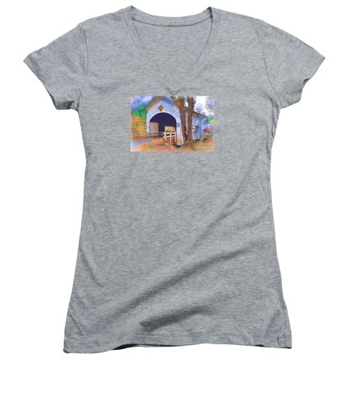 Women's V-Neck T-Shirt (Junior Cut) featuring the digital art Covered Bridge In Watercolor by Kirt Tisdale