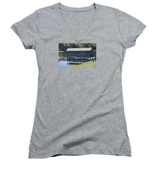 Covered Bridge Painting Women's V-Neck (Athletic Fit)